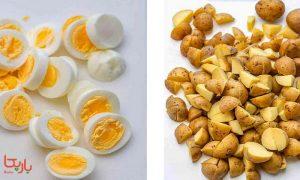 سیب زمینی و تخم مرغ پخته